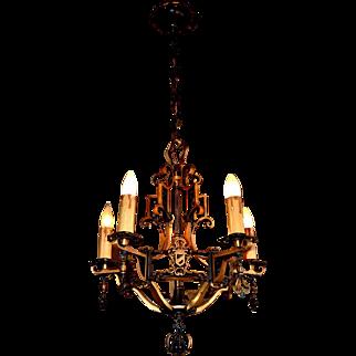 Tudor Spanish Revival Style Solid Bronze Chandelier