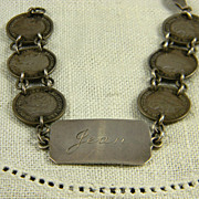 Sweet Engraved WWII British Sweetheart Bracelet