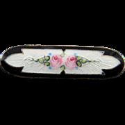 Delicate 1930's Sterling Enamel Guilloche Pin