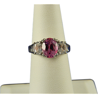 Pretty Lab Created Pink And White Sapphire Ring