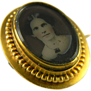 Beautiful Tiny Tintype Portrait Pin