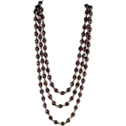 Gorgeous Mid Century Amethyst Glass Bead Necklace