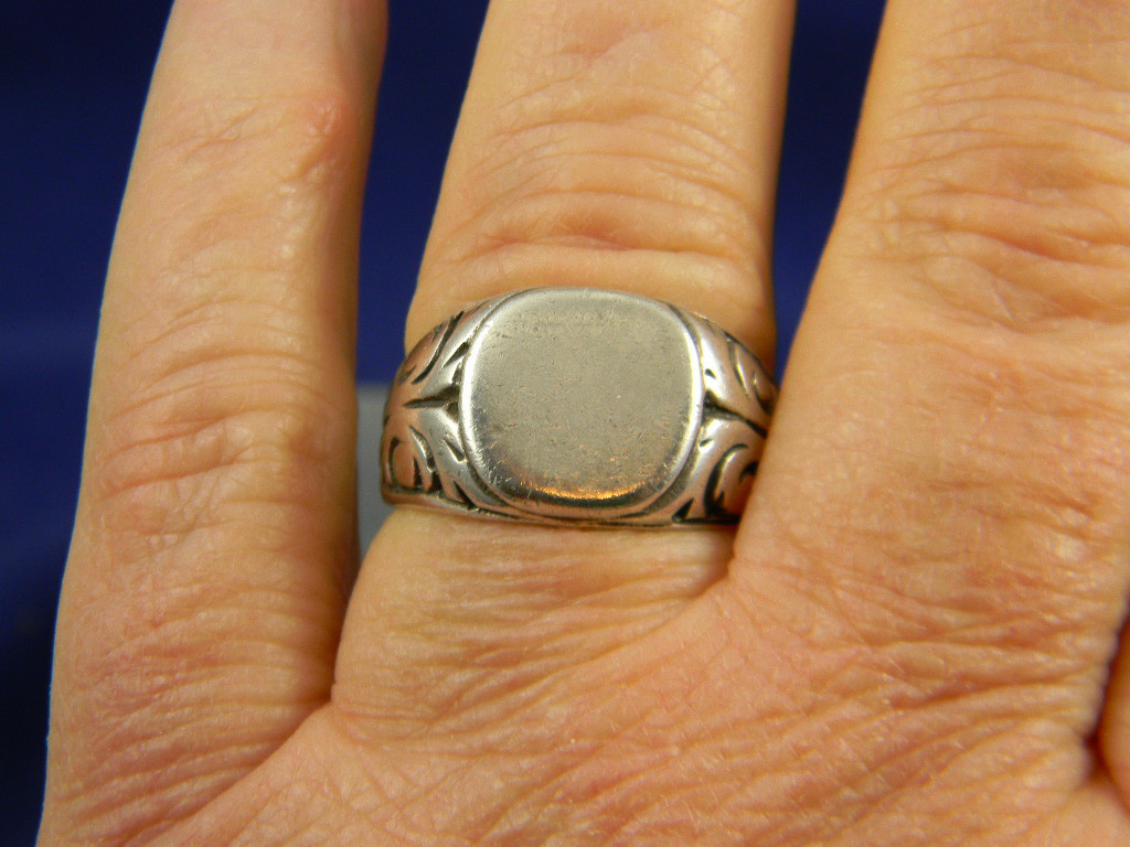 charming coin silver philippine signet ring from