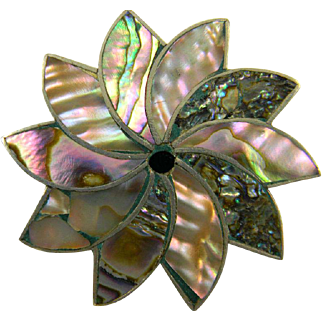 Lively Mexican Sterling and Abalone Shell Pin