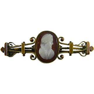 Victorian Gold Filled Hardstone Cameo Pin