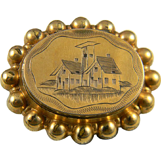 Stunning Gold Filled Locket Pin  Circa 1860-1880