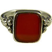 Wonderful Gentleman's Carnelian Ring  835 silver