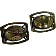 Mid Century Mexican Sterling Silver And Abalone Earrings