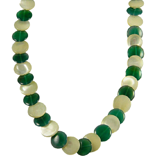Unique Mother Of Pearl and Green Stone Necklace