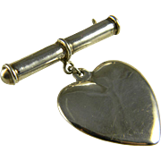 Sentimental Sterling Bar Pin With Suspended Heart