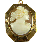 Lovely Shell Cameo With 10K Etched Bezel