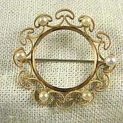 Mid Century Krementz Cultured Pearl Circle Pin