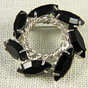1950's Silvertone Black Glass Pin