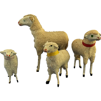 4 Christmas Putz wooly sheep Germany