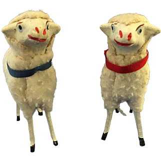 2 large putz Christmas sheep ,Germany