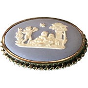 Wedgwood Jasper Ware  oval brooch blue cherub cupid lovers