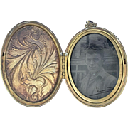 Large Antique Floral Etched Locket - Rolled Gold Opens  Photo Frame ww 1