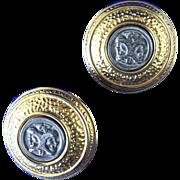 Janus head Etruscan Fendi Italy earrings