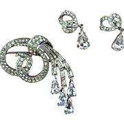 Boucher clear rhinestone brooch and dangle earrings 1949 with simulated diamond baguettes stones