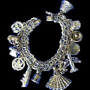 Charm bracelet sterling silver double link vintage- FEMININE