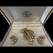 Continental aurora borealis rhinestone brooch earring set original box  - VINTAGE- MINT