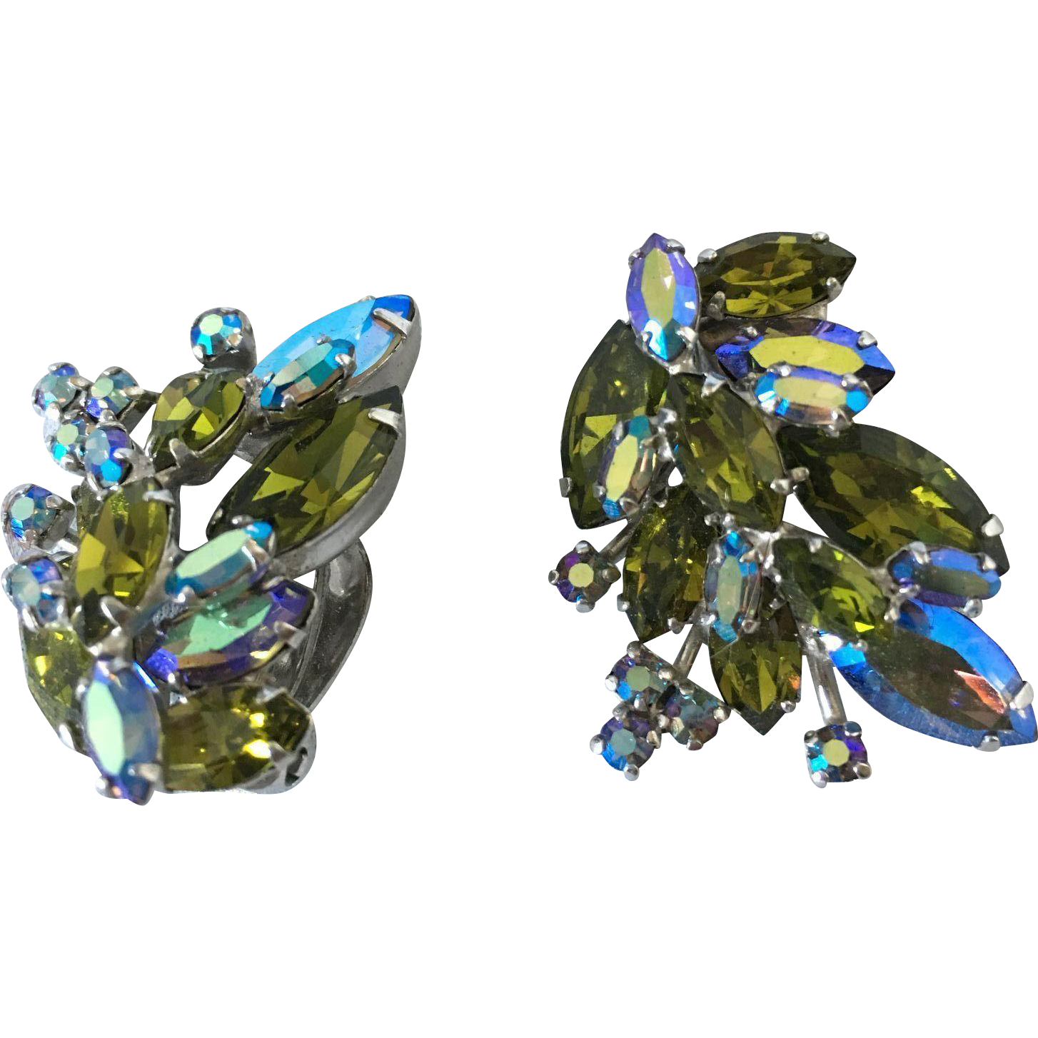 Olive Green and ice blue aurora borealis Sherman earrings