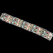 Micro mosaic LARGE double row bracelet - vintage - Italy