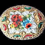 Micro mosaic domed oval pin brooch -Italy