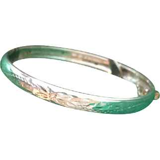 Child's sterling silver antique etched hinged bangle bracelet