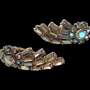 Keyes shooting stars clear rhinestones clip on earrings- vintage