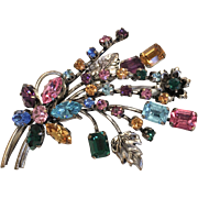 Large vintage multi coloured rhinestone brooch-bouquet of colourful flowers