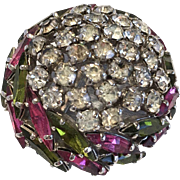 Classic vintage domed brooch  marquise rhinestones