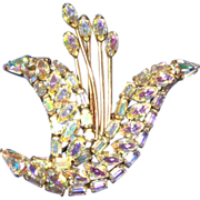 Cattail brooch Signed Vintage Sherman aurora borealis crystals- UNUSUAL