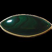 18K gold Natural malachite oval brooch 750- ELEGANT- Vintage