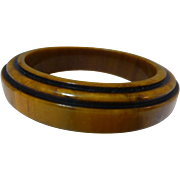 Bakelite bangle bracelet ART DECO Dijon mustard marbleized yellow black stepped -VINTAGE