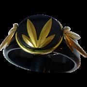 Bakelite unusual bangle bracelet ART DECO Black and metal  -VINTAGE
