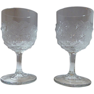2 EAPG early American Pressed glass goblet Stippled Star- Pittsburgh glass - pair-