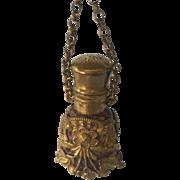 Chatelaine perfume scent bottle amethyst glass+gilt +finger ring- Antique c 1880's