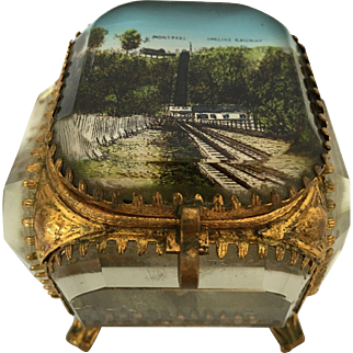 Montreal Mount Royal Incline Railway Memorabilia Antique French gilt brass dore metal & beveled glass jewelry box casket