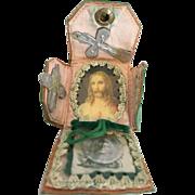 Catholic religious pouch case medal crucifix scapular
