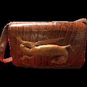 Vintage genuine alligator bag  handbag purse Cuba-crocodile with head & legs