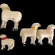 4 vintage Putz Christmas sheep wool+ stick legs