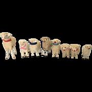 8 vintage Putz Christmas sheep wool+ stick legs