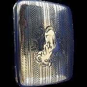 Cigarette case sterling silver Birmingham 1905 mono GAF gold wash interior
