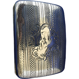 Cigarette case sterling silver Birmingham 1905 mono GAF gold wash interior