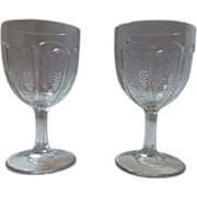 2 EAPG early American Pressed glass goblet -Boston & Sandwich- Arched Grape- pair-