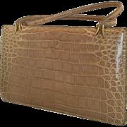 Coblentz  made in France tan beige Alligator  vintage handbag  purse bag Kelly style