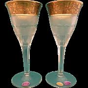 """Moser 2 red wine glasses 6 7/8 """" Splendid 10160- 24 K gold"""