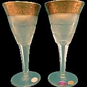 """Moser 2 white wine glasses 6 """" Splendid 10160- 24 K gold"""