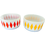 Fire King Harlequin diamond 2 bowls yellow and red